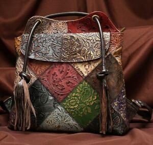 New Women Genuine Cow Leather Backpack Shoulder Bag Handbag Purse Embossed M