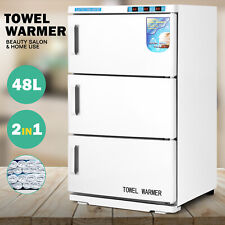 48L Towel Warmer UV Sterilizer Heat 3 Doors Cabinet Salon Spa Beauty Equipment