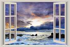 Ocean Coast Sunset Window View Repositionable Color Wall Sticker Wall Mural 3 FT
