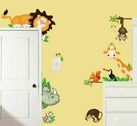 Safari Jungle Animals Kids Wall Stickers Lion Giraffe Rhino Monkey Home Decal