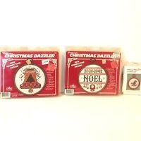 Lot 3 Christmas Cross Stitch Kits Vintage Vogart Crafts Mary Maxim Bell Noel