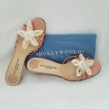 Hollywould Bone Pink Sandal Size 91/2 M Strappy Leather Kitten Heel Bead Floral