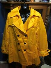 EBZA YELLOW  HOODED WOMENS TRENCH COAT SIZE: LARGE  NEW WITH TAGS