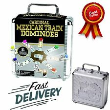 Mexican Train Domino Game Set Double 12 Cardinal Industries W/ Aluminum Case New