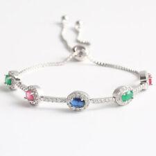 Multi Color Rainbow Fire Topaz Gems Silver Women Charm Adjustable Silde Bracelet