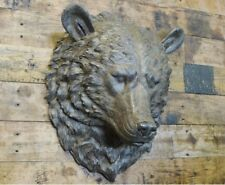 Large Wall Mounted Bears Head Animal Bust Art Sculpture Country Woodland Decor