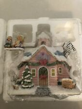 Precious Moments Christmas Village House Merry Memories School & Figure Set