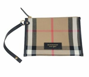 Excellent Original Burberry Sunmerset Pouch Zip Card Phone Holder With Strap