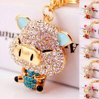 Crystal Cartoon Pig Rhinestones Keyrings Handbag Key Chain Jewelry Decoration