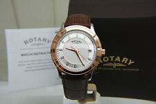 NEW ROTARY Swiss Men's Watch Slim Rose Gold plated Light weight watch RRP £180