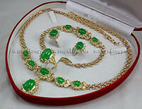 Fashion Green Jade Inlay Link Bracelet Earrings Ring Necklace Jewelry Set AAA