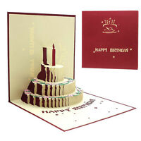 Novel 3D Pop Up Happy Birthday Handmade Greeting Card Kirigami Gift for Lover