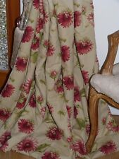 """KAUFMANN CURTAINS Heavy Linen BLANKET INTERLINED Floral Ea 63""""W 84""""D REDUCED"""