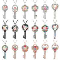 Keys Living Memory Floating Locket Pendant Pearl Cage Glass Locket Necklace