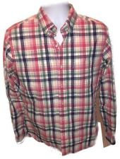 LANDS' END NO IRON TAILORED FIT PLAID BLUE PINK YELLOW SHIRT MENS 15 1/2