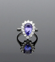 PEAR CUT TANZANITE & DIAMOND CLUSTER RING