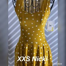 Lularoe XXS XX Small Nicki Dress Mustard With White Polka Dots New