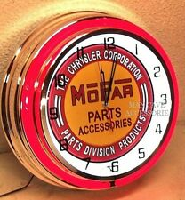 "18"" MOPAR Parts & Accessories Sign Double Neon Clock Dodge Plymouth Ram Chrysler"