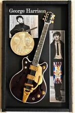 Beatles George Harrison Owned Clothing in Miniature Guitar Shadowbox with Medal