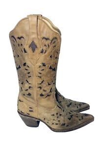 New Corral Women's Genuine Western Cowboy Brown Tan Inlay Leather Boots Mexican