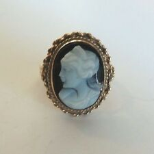 VICTORIAN 14K YELLOW GOLD HARD STONE CARVED CAMEO RING, SIZE 7.25, 5 grams