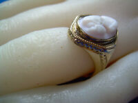 Antique Victorian Deco Ring Solid Gold INTAGLIO HAND CARVED Portrait Cameo Coral