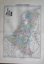 1883 ANTIQUE MAP- HOLLAND AND BELGIUM, ENGRAVED VIGNETTE