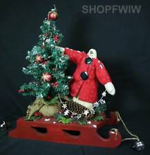 Hand-Crafted Red Wood Sled with Primitive Snowman and Christmas  Tree Lights Up