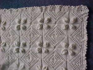 Pram blanket Cream New hand knitted