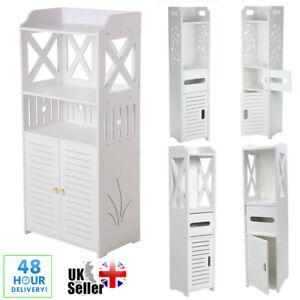 Modern Wooden Bathroom Shelf Cabinet Cupboard Storage Toilet Unit Free Standing