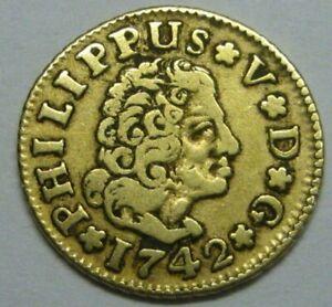 1742 SEVILLA 1/2 ESCUDO PHILIP V SPAIN GOLD DOUBLOON SPANISH COLONIAL ERA