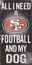 San Francisco 49ers Football and Dog Wood Sign [NEW] NCAA Man Cave Den Wall