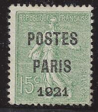 n°28 Préoblitéré POSTE PARIS 1921 15c Neuf sans gomme TB - Signé Calves