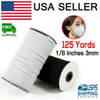 125 Yards White Braided Elastic Band Cord Knit 1/8 inches width (3mm)  USA Stock
