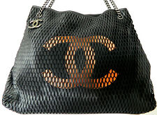 AUTH CHANEL Extra Large XL Perforated Laser Cut Hobo Tote Bag Black Fall 2014