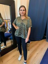 Designer Khaki Leopard Print Blouse Silk Tops Loose Top Shirt Casual Fashion