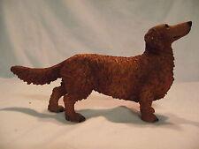 Statue de collection CASTAGNA - chien  TECKEL POIL LONG couleur FEU DEBOUT