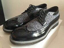 MAURON SPAZZOLATO NERO WINGTIP PARA LACE-UP BROGUES SZ EU 44 US 11 MADE IN ITALY