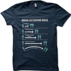 Social Distancing Rules funny corona flat earth t-shirt 9050