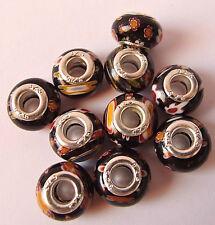 10 X Negro Perlas De Vidrio Con Varios Colores Millefiori para europeo encanto Pulseras
