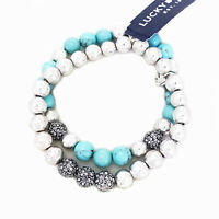 NWT Lucky Brand Silver Tone Pave & Turquoise Bead Double Strand Stretch Bracelet