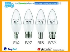 Bulk Lots 10 Verbatim LED Candle E14/27/B15/22 6W Bulb WW DIM Clear Candle Globe