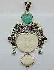 VINTAGE Bali Goddess Gemstone bone pendant (70x40 mm)  Solid 925 Sterling Silver