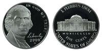 2008-S Proof Jefferson Nickel, Gem Deep Cameo , FREE SHIPPING!