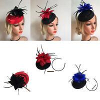 Flower Cocktail Tea Party Headwear Feather Fascinators Pillbox Hat for Women