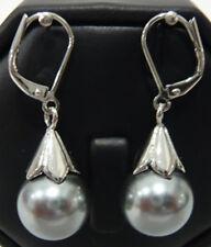 recht 12mm grau Shell Perle Hochzeit Partei Schmuck 18KGP Ohrringe
