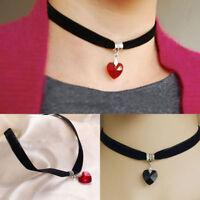Fashion Jewellery Girls Ladies Black Chocker Choker Trendy Heart Collar Necklace