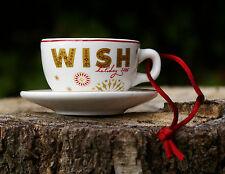 Starbucks Coffee Christmas 2006 Holiday Ornament Wish Cup Mug Saucer Plate