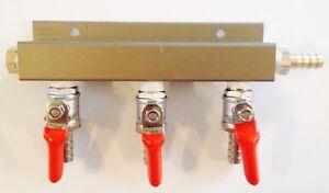 "Beer Tap Draft Co2 Nitrogen Gas Regulator 3 way Spliter Kegerator 5/16"" Barb"