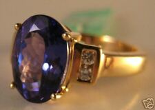 18KY 3.6 Carat AAA (3A)Tanzanite Oval & Diamond Ring